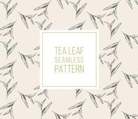 Tea leaves seamless pattern drawn vector organic
