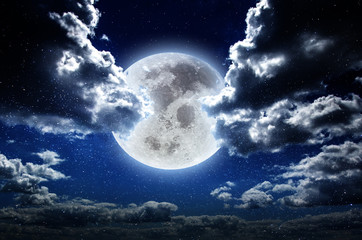 Moon at night in galaxy stars sky