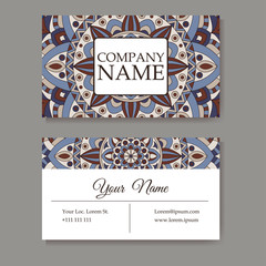 Vector template business card. Geometric background. Card or invitation collection. Islam, Indian, ottoman motifs