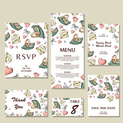 Set of wedding invitations. Wedding cards template with individual concept. Design for invitation, thank you card, save the date card