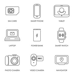 Mobile portable devices icon set symbol flat style vector illustration
