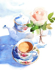 Watercolor Cup Of Coffee and a Rose in a vase hand drawn still life illustration food and drink background