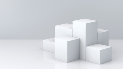 White cube boxes with white blank wall background for display. 3D rendering.