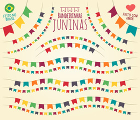 Brazilian June Party style little colorful flags in various disposals - Flat vivid vector for festive themes, made in Brazil with love