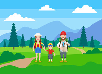 hiking family tourism, summer vacation in beautiful mountains