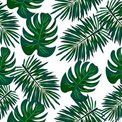 Seamless tropical plant pattern. Green. Jungle. Vacation.