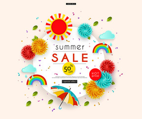 Summer Sale. Stylized multicolored flowers, umbrella, leaves, clouds, rainbow, confetti. Message. Abstract pattern for advertising, banners, posters, flyers, leaflets, signboards. Vector illustration