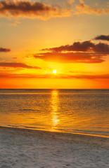 Flic en flac beach at sunset.