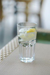 a glass of carbonated water and a lemon