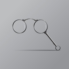 Vector isolated lorgnette on gray background.