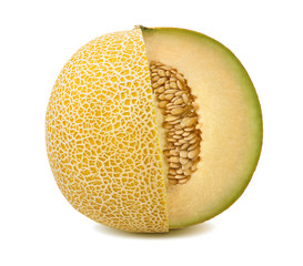 Yellow melon cut from whole isolated