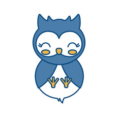 kawaii owl animal icon over white background vector illustration