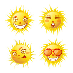 Smiling yellow sun poster of four isolated on white