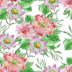 Seamless pattern with flowers. Lily.  Lotos. Watercolor illustration. Hand drawn.