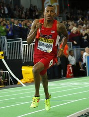 Norwood of the U.S. team runs the anchor leg on the way to winning the gold medal in the men's 4x400 relay during the IAAF World Indoor Athletics Championships in Portland