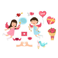 cupid,valentine set, illustration.