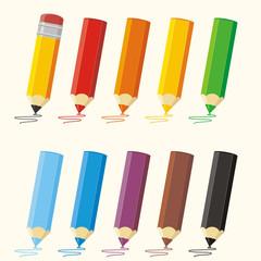 Set colored pencils with stroke. Vector collection isolated pencils: red, orange, yellow, green, blue, purple, brown, black.