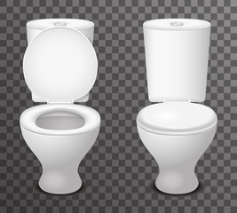 Toilet ceramic seat open closed 3d isolated icon realistic design vector illustration