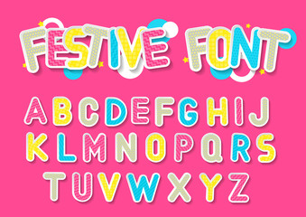 Concept of vector festive alphabet. Color 3d letters with white outline and hatching on pink background.