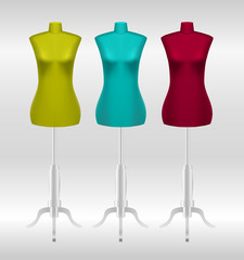 Three female tailors dummy mannequins