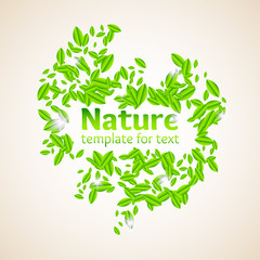 Vector illustration of Nature with leaves and a field for text on the eco theme