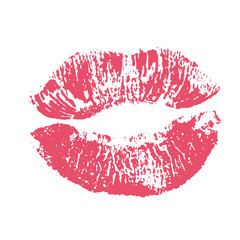 Print of pink lips. Illustration on white background.