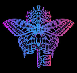 Esoteric neon butterfly and key tattoo art. Mystical symbol of freedom, spiritual search, flight, travel. Beautiful butterfly t-shirt design boho style