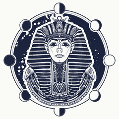 Pharaoh vector tattoo art, Egypt pharaoh graphic, t-shirt design. Egyptian golden pharaohs mask, ethnic style tattoo vector. Great king of ancient Egypt. Tutankhamen mask tatoo