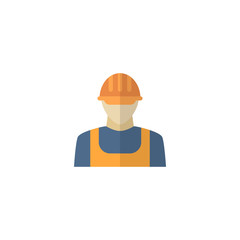 Flat Icon Builder Element. Vector Illustration Of Flat Icon Worker Isolated On Clean Background. Can Be Used As Builder, Worker And Workman Symbols.