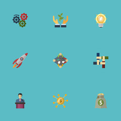 Flat Icons Businessman, Financing, Bulb And Other Vector Elements. Set Of Startup Flat Icons Symbols Also Includes Launch, Brainstorm, Hand Objects.