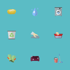 Flat Icons Aqua, Mopping, Gauntlet And Other Vector Elements. Set Of Cleaning Flat Icons Symbols Also Includes Wash, Trash, Bucket Objects.