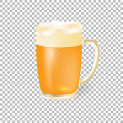 Festival of beer. Light beer in a mug with foam, isolated on a checker background. illustration