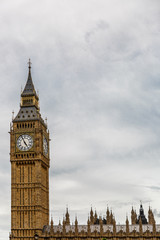 Big Ben tower in London on a slightly cloudy day, London