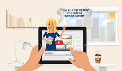 Woman keeps a vlog in tablet pc. Online education and finance training. Business blogger make a free webinar. Flat Vector Illustration