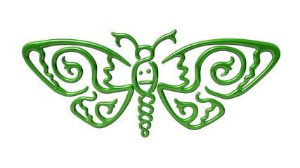 3d illustration of  illustration of green moth butterfly Celtic style