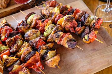 Homemade grilled skewers