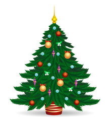 Christmas tree vector illustration. Decorated colorful traditional xmas trees symbol with bright lights and balls isolated on white background