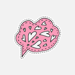 Isolated vector illustration in patch style. Speaking cloud hand drawn sticker with hearts.