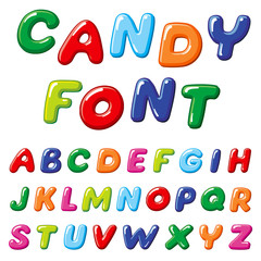 Cartoon candy kids vector font. Rainbow funny alphabet