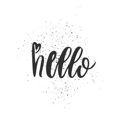 Hand drawn hello word lettering vector illustration with handmade texture.