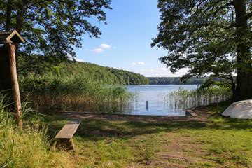 Waldsee, Holzbank, Wegweiser