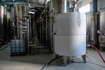 Iced white wine fermentation tank
