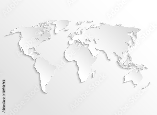 white paper earth 3d map vector template for business infographic
