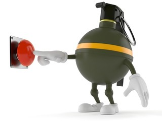 Hand grenade character pushing button