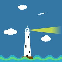 Lighthouse on ocean cartoon background vector illustration.