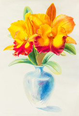 Watercolor original painting yellow red color of orchid flower and green leaves.