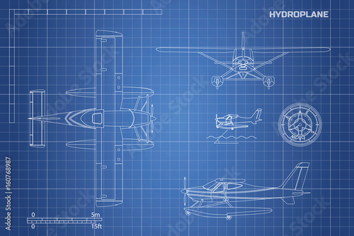 Engineering blueprint of plane hydroplane view top side and front engineering blueprint of plane hydroplane view top side and front industrial drawing malvernweather Image collections