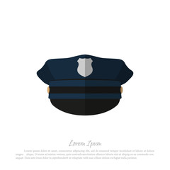 Police cap on white background. Icon of policeman hat. Vector illustration
