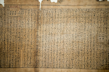 Papyrus of old ancient egyptian book of dead