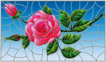 Illustration in stained glass style flower of red rose on a pink background